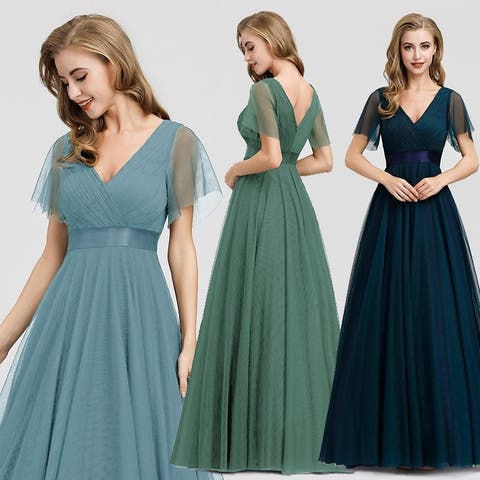 Ever-Pretty Womens Elegant Ruched A-Line Bridesmaid Evening Dresses for Women 07962