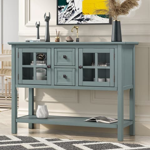 AOOLIVE Modern Kitchen Cabinet with 2 Drawers and 1 Shelf