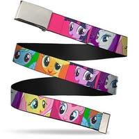 Blank Chrome Buckle Pony Faces Close Up Blocks Webbing Web Belt