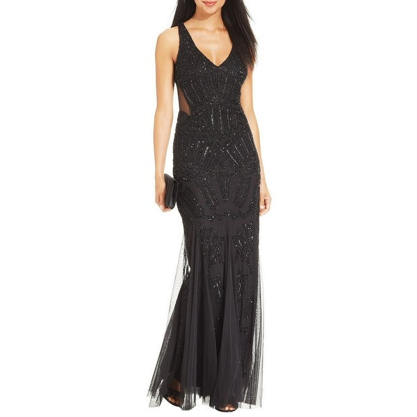 Adrianna Papell Beaded Mesh Illusion Cutout Mermaid Evening Gown Dress - 8
