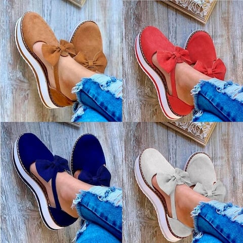 Comfy Suede Sneakers With Bow In 5 Color Choices