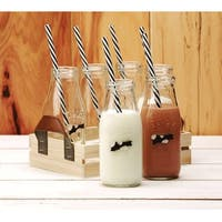 Palais Glassware High Quality Milk Bottles with Black & White Swirl Straws (Set of 6 'Dairy' Embossed with Wooden Tray)