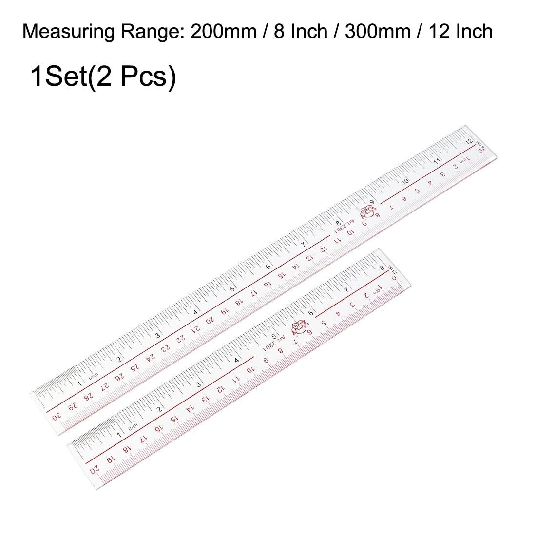 Ruler Plastic Clear Shatter-resistant 12inch 300mm Light Blue