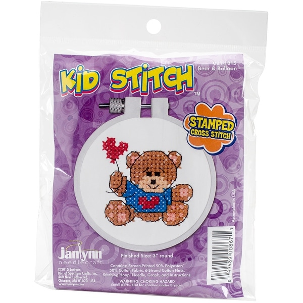 "Kid Stitch Bear & Balloon Stamped Cross Stitch Kit-3"" Round"