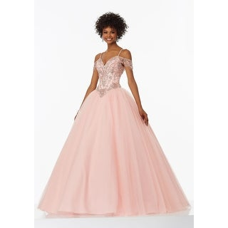 Beaded Cold Shoulder Tulle Ball Gown