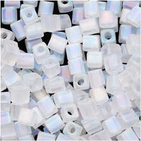 Miyuki 4mm Glass Cube Beads 'Transparent Frosted Clear AB' 131FR 10 Grams