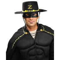 Zorro Costume Hat And Eye Mask Adult One Size - Black