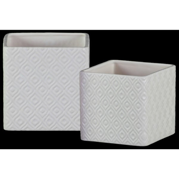 Square Shaped Ceramic Pot with Embossed Diamond Design, White, Set of 2
