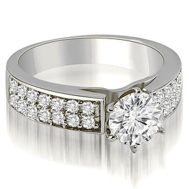 1.10 cttw. 14K White Gold Cathedral Style Two Row Round Diamond Engagement Ring