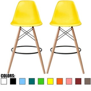2xhome Set of Two (2) Eames Style Barstool Chair with Natural Wood Eiffel Leg 25 or 26 Seat Height(Details in Dimension Photo)