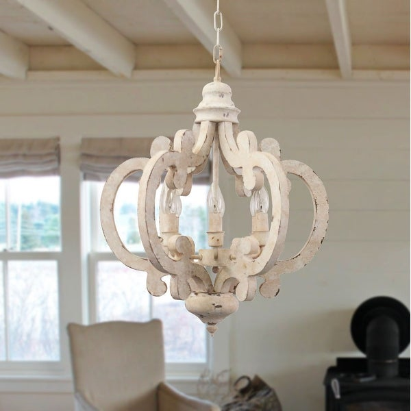 Cottage Chic Crown 6-light Farmhouse Wood Chandelier. Opens flyout.