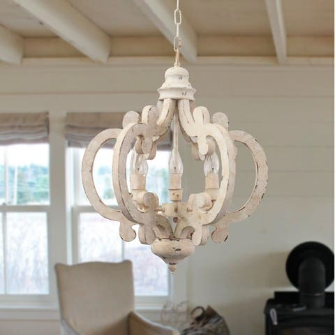 Cottage Chic Crown 6-light Farmhouse Wood Chandelier