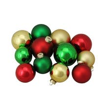 """96ct Red, Green and Gold Shiny and Matte Glass Ball Christmas Ornaments 2.5-3.25"""""""
