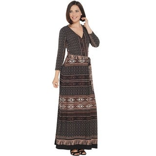 Link to Attitudes by Renee Womens Como Jersey Faux Wrap Maxi Dress 1X Chocolate A310783 Similar Items in Loungewear