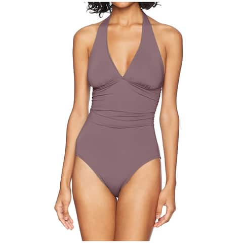 Carve Designs Women's Swimwear Brown Size XL Ruched Halter One-Piece