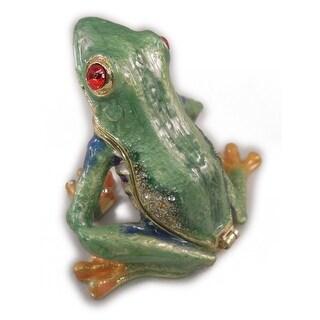 "Sea Creations Tree Frog Jewelry Box 2"" Green"