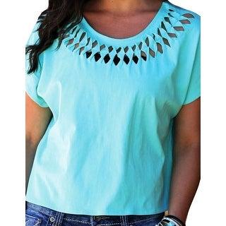 Cruel Girl Western Shirt Womens S/S Twist Cut Teal CTK9755001