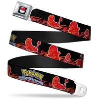 Pok Ball Full Color Pokmon Charmander Silhouette Poses Flames Black Reds Seatbelt Belt