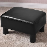 Costway Small Ottoman Footrest PU Leather Footstool Rectangular Seat Stool Black