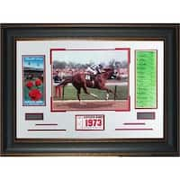 Kentucky Derby 1973 Kentucky Derby Horse Racing unsigned Photo Leather Framed 22x32 w Ticket and Ra