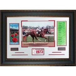 Kentucky Derby 1973 Kentucky Derby Horse Racing unsigned Photo Leather Framed 22x32 w/ Ticket and Race Lineup