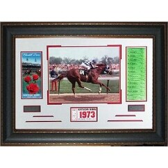 Secretariat 1973 Kentucky Derby Horse Racing unsigned Photo Leather Framed 22x32 w Ticket and Race