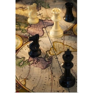 """Chess pieces on old world map"" Poster Print"