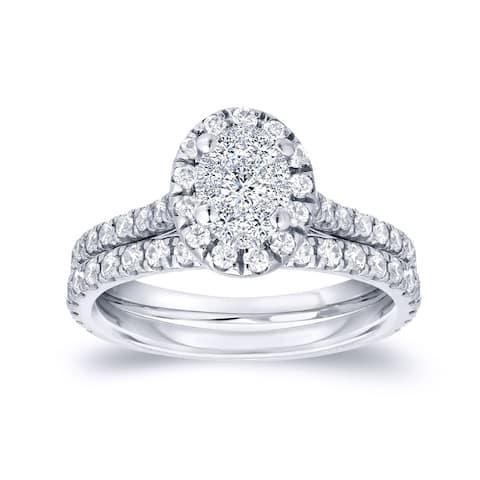 Auriya 3/4ctw Oval Halo Diamond Engagement Ring Set 14k Gold
