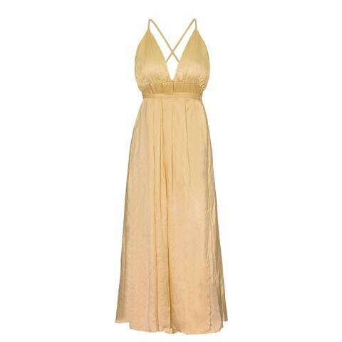 Sexy Deep V-Neck Halter Beach Dress Solid Color Bandage Long Dress Dress