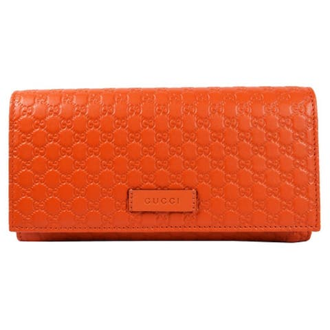 Gucci Women's Bright Orange Microguccissima Continental Flap Wallet 449396 - M