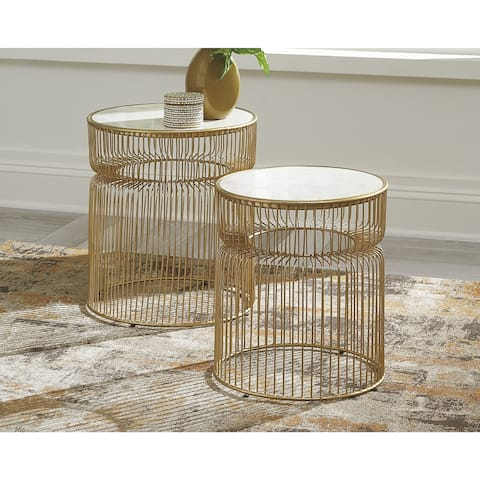 Vernway White/Gold Finish Accent Table - Set of 2