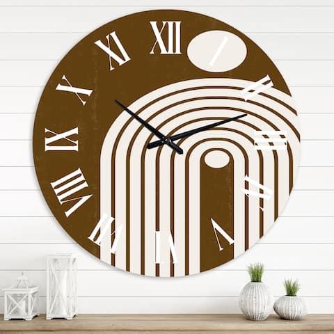 Designart 'Terracotta Minimalist Boho Rainbow II' Modern wall clock