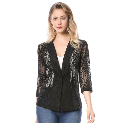 Women's 3/4 Sleeves Notched Lapel One-Button Lace Blazer - Black