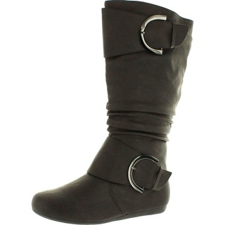 Top Moda Womens Bank-85 Buckle Slouch Boots - Brown
