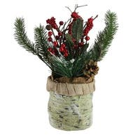 "12"" Artificial Red Berries, Frosted Pine Needles and Twigs Christmas Centerpiece - Green"