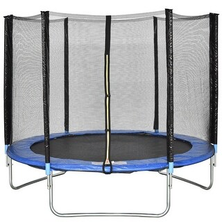 Gymax 8 FT Trampoline Combo Bounce Jump Safety Enclosure Net W/Spring Safety Pad