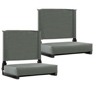 Costway2 PCS  Portable Folding Padded Stadium Seat Bleacher Sports Grandstand Back Chair Gray