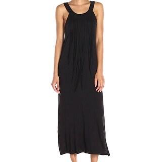 Kensie Black Women's Size Small S Fringe-Trim Maxi Scoop-Neck Dress