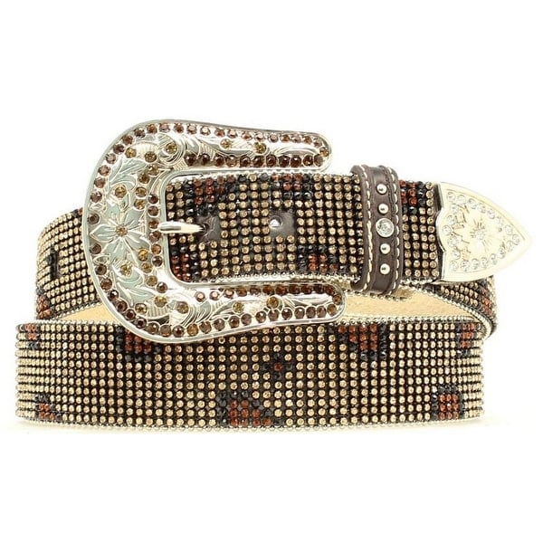 Nocona Western Belt Womens Leather Leopard Crystal Brown