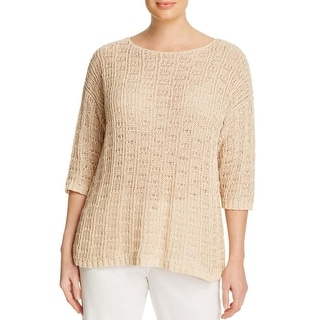 Eileen Fisher Womens Plus Pullover Sweater Three-Quarter Length Boatneck
