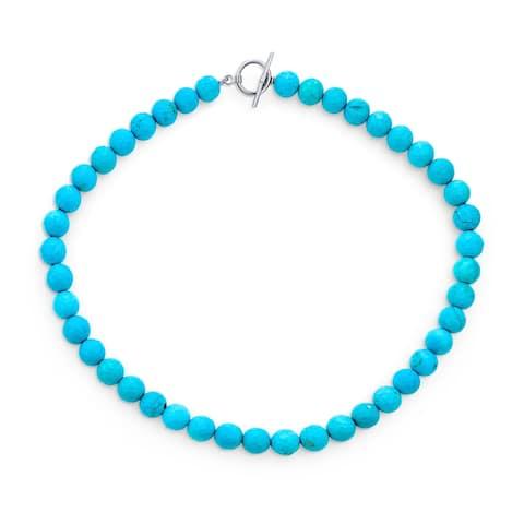 Amazonite Light Aqua Blue Gemstone Bead Strand Necklace Silver Plated