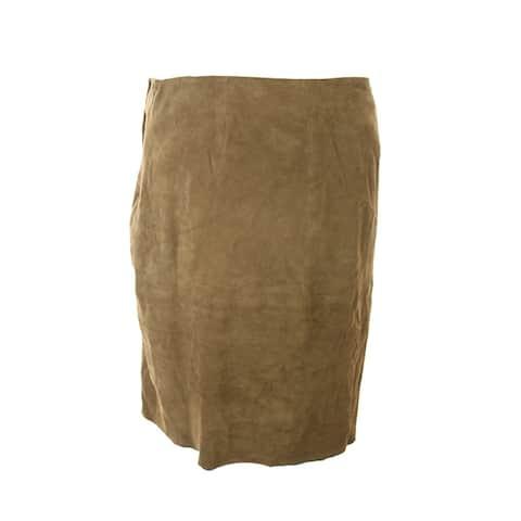 Lauren Ralph Lauren Brown Asymmetrical Suede Pencil Skirt 12