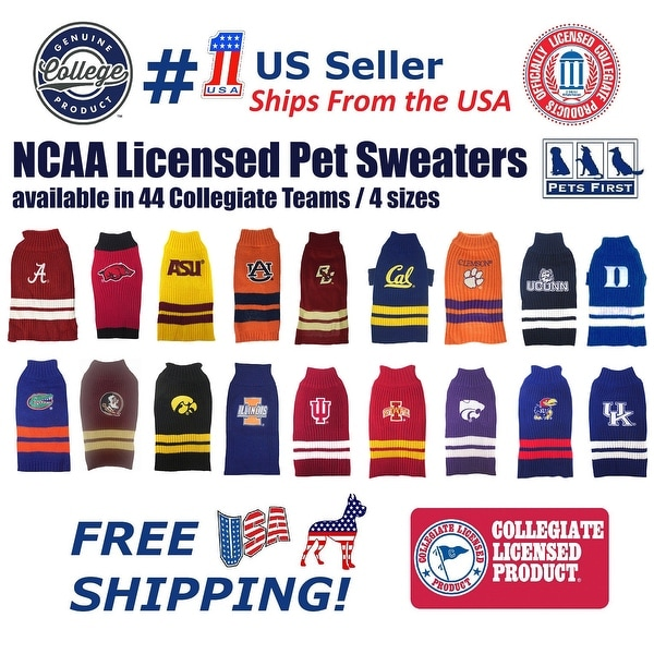 f0c40cdf6 Shop NCAA Pet Sweater - Licensed 100% Warm Acrylic knitted. 44 College  Teams, 4 sizes - On Sale - Free Shipping On Orders Over $45 - Overstock -  23107902