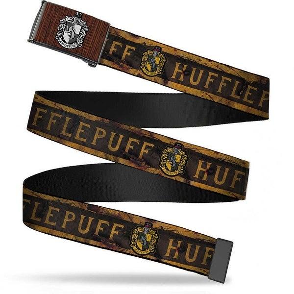 Hufflepuff Crest Marquetry Black Walnut Brushed Silver 1.0 Cam Hufflepuff Web Belt