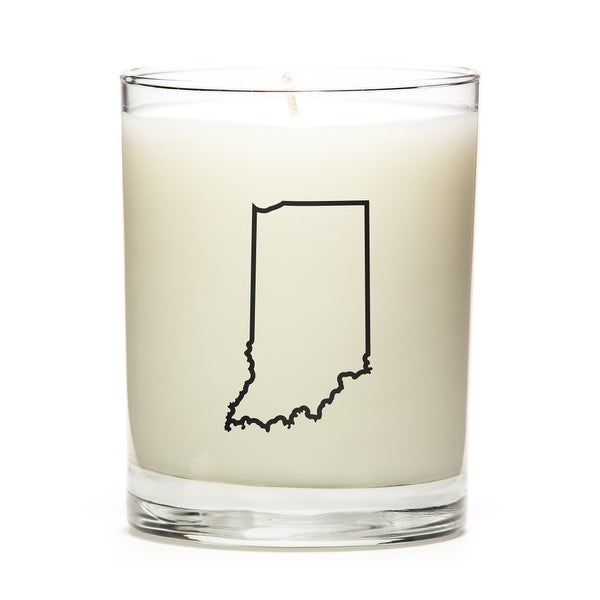 State Outline Candle, Premium Soy Wax, Indiana, Peach Belini