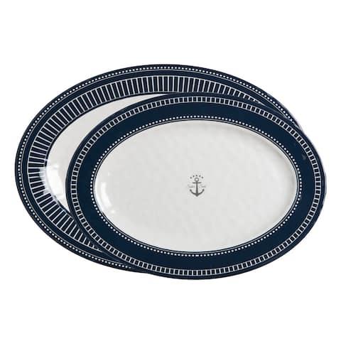 """Sailor Soul Oval Serving Platters - 2-Pc. Set - 16-1/4"""" L x 11-1/2"""" W/14"""" L x 10-1/4"""" W"""