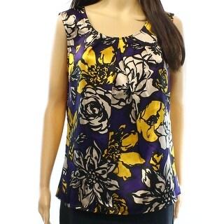 Kasper NEW Purple Yellow Women's Size Medium M Floral Sleeveless Blouse