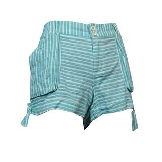 Rewind Juniors Printed Bow Shorts (Blue Stripe, 11) - Blue Stripe