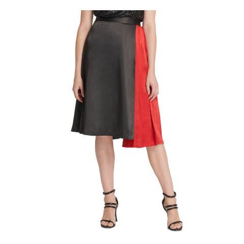 DKNY Womens Black Color Block Midi A-Line Skirt Size 16