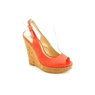 Charles David Regalia Women Open Toe Leather Pink Wedge Heel
